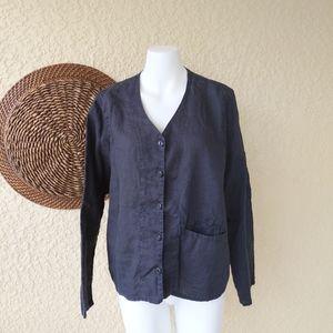 Flax button down long sleeve shirt